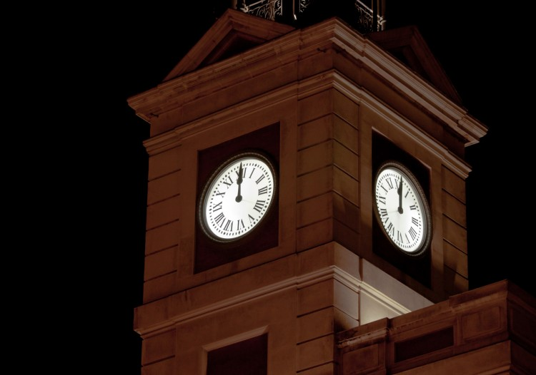 On new year?s eve, this clock tower is traditionally shown on Spanish television to count down to the new year. It is located on Puerta del Sol in Madrid.