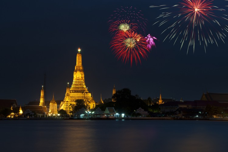 Fireworks Over Wat Arun In Bangkok, Thailand
